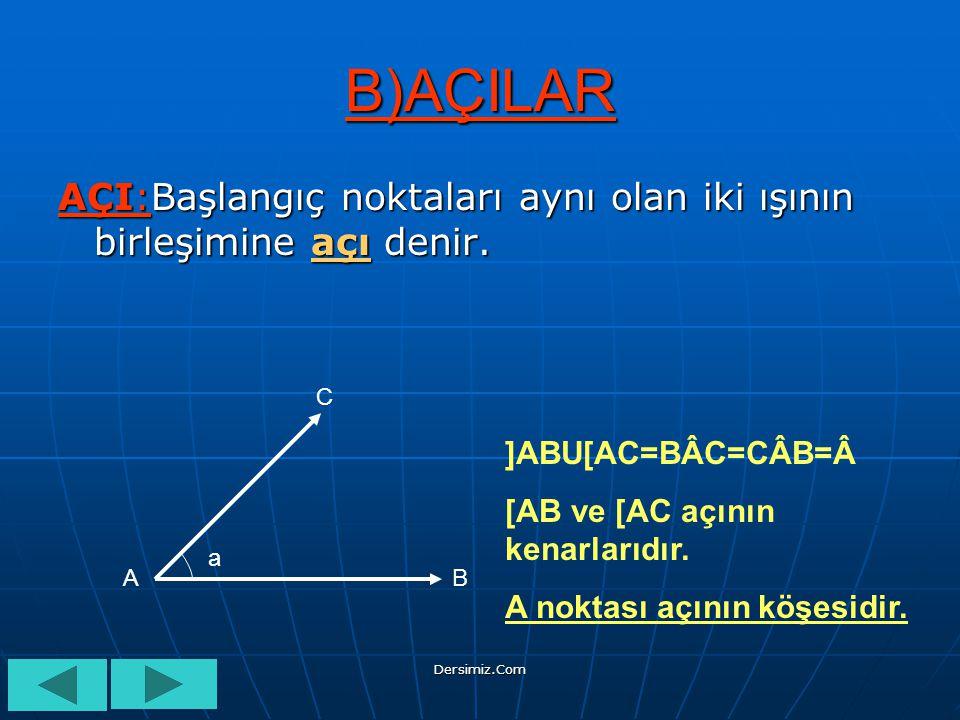 B)AÇILAR AÇI:Başlangıç noktaları aynı olan iki ışının birleşimine açı denir. C. ]ABU[AC=BÂC=CÂB=Â.